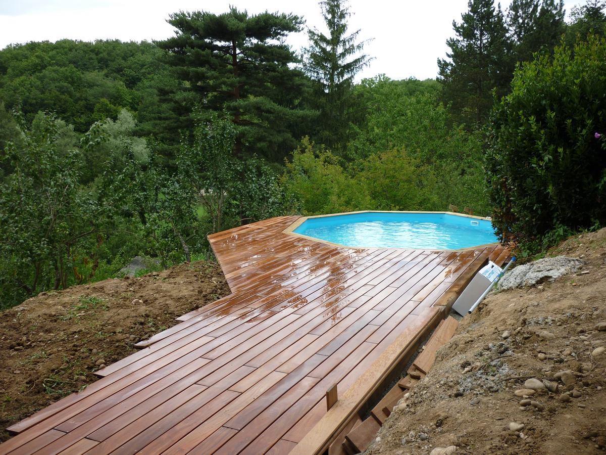 Piscine Bois Avec Terrasse piscine hors sol avec terrasse en bois exotique à